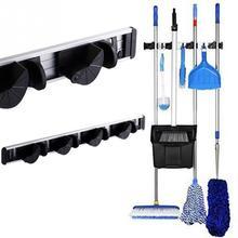 4 Position 5 Hooks Mop Broom Holder Wall Mounted ABS Plastic Organizer Hanging Shovel