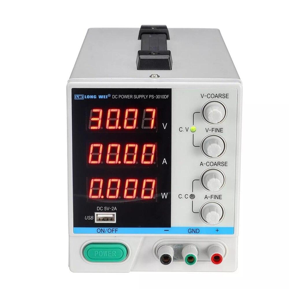 LONG WEI PS 3010DF Adjustable LED Digital Display DC Power Supply 110V/220V 30V 10A Switching Regulated 5V 2A USB Power Supply