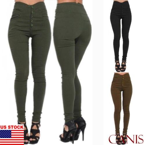 Women Stretch Pencil Pants High Waist Skinny Leggings Jeans Casual Slim Trousers