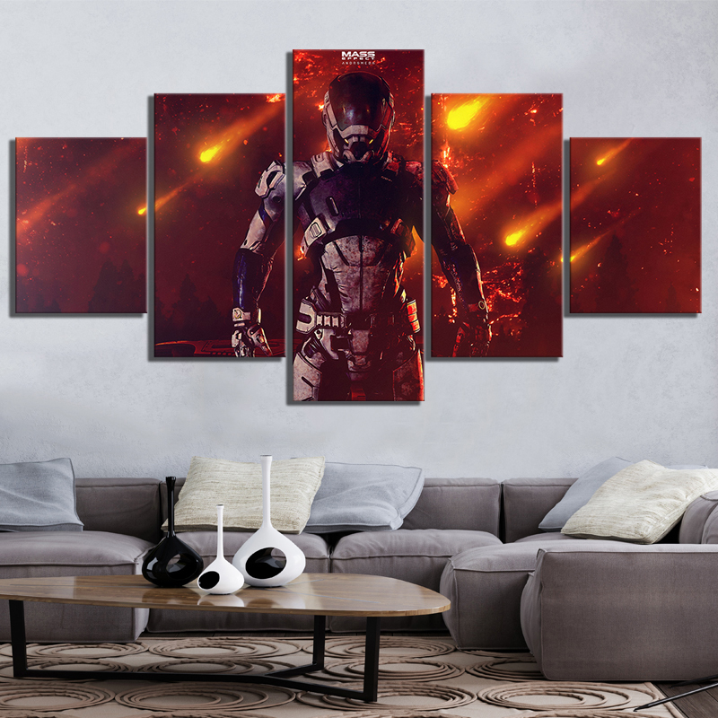 5 Piece Andromeda RPG Game Pictures Canvas Printed Wall Pictures Home Decor For Living Room Poster Canvas Wholesale in Painting Calligraphy from Home Garden