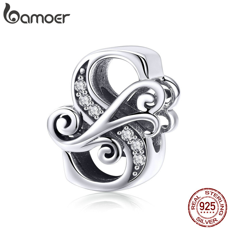 BAMOER 2019 NEW 925 Sterling Silver Vintage A to Z Clear CZ 26 Letter Alphabe Bead