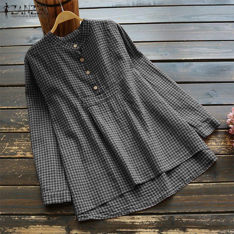 ZANZEA Women Long Sleeve Buttons Down Low Cut Casual Blouse Shirt Tops Plus Size