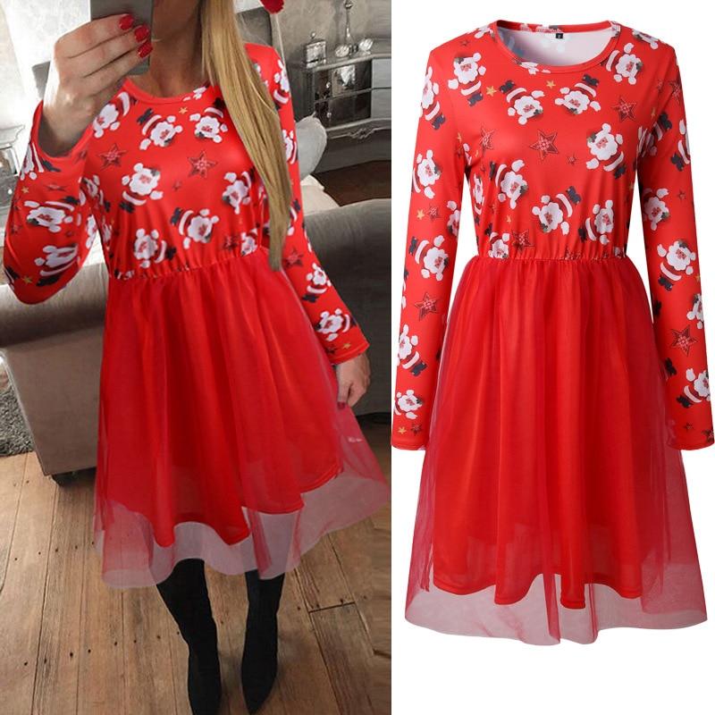 Christmas Santa Claus Large Size Print Dress Women Autumn Cartoon Casual Dresses Long Sleeve ...