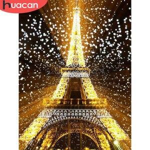 HUACAN 5D алмазная картина, полностью квадратная Эйфелева башня, стразы, картина, вышивка, распродажа, Алмазная мозаика, вышивка крестиком, дома...