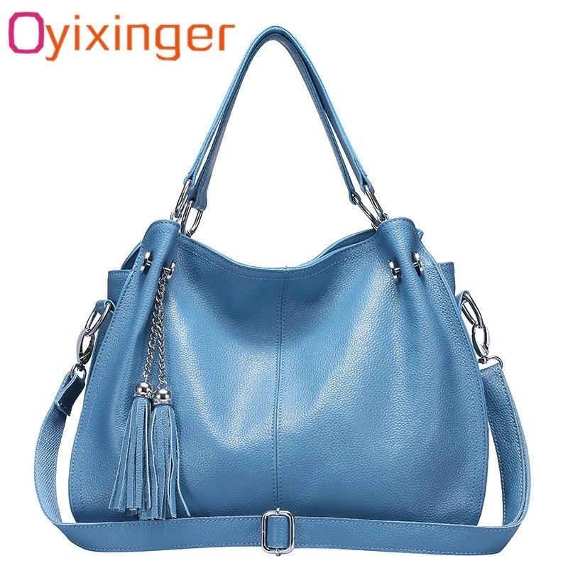 Oyixinger New Women s Tassel Bags Cow Leather Tote Bag Large Capacity Genuine Leather Handbag Female