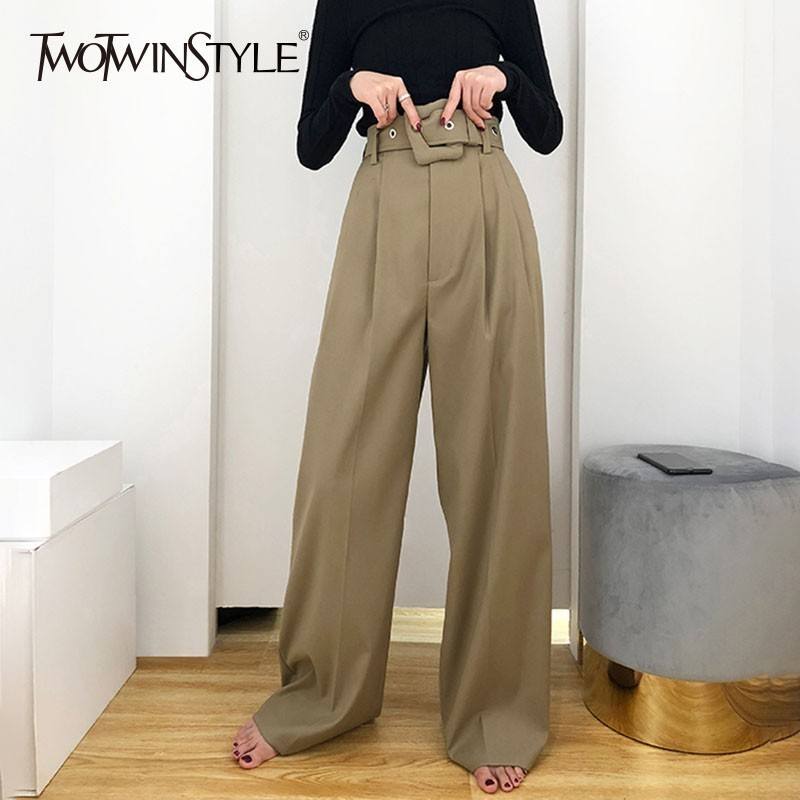 TWOTWINSTYLE Casual Black Trousers For Women High Waist Bandage   Wide     Leg     Pants   Female Spring Autumn 2019 Korean Fashion New