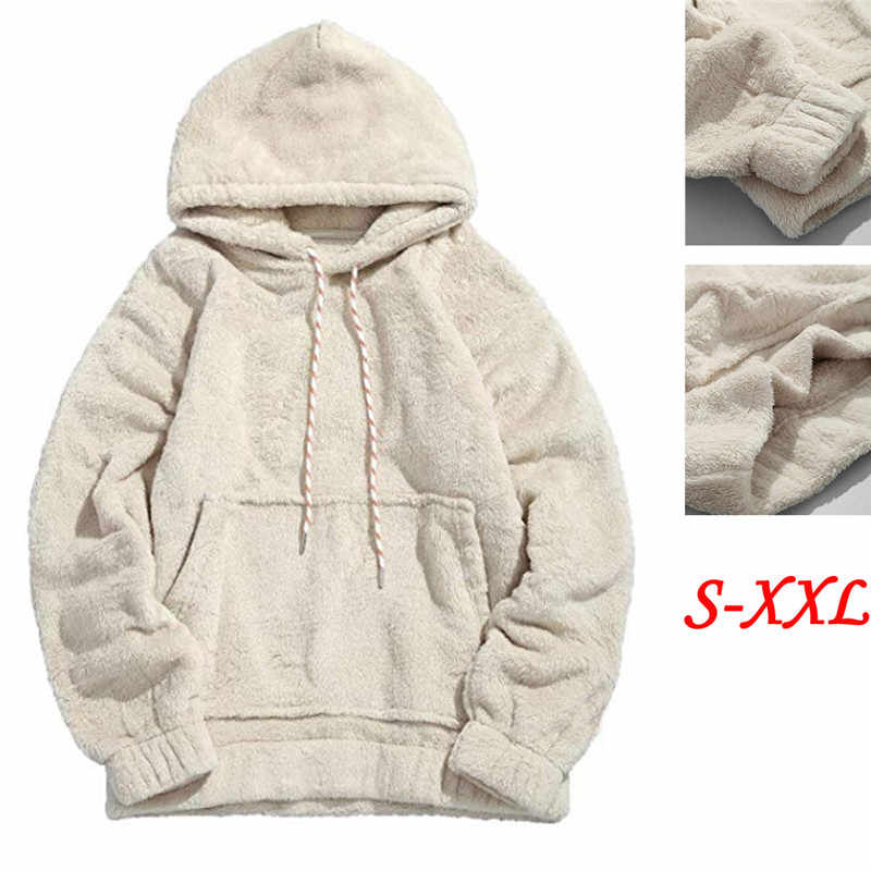 f2cb4b15c4a Casual Winter Warm Men Women Sweatshirt Furry Unisex Long Sleeve Pockets  Hooded Pullovers Solid All-Match Cotton Plain Jumper