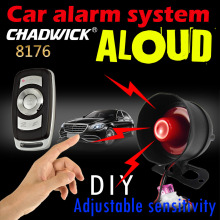 12V Car alarm system with siren aloud sound 20W one way remote control Adjustable sensitivity CHADWICK 8176 DIY connect battery