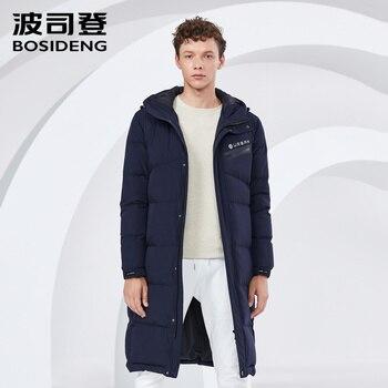 467b2d48f BOSIDENG 2018 nuevo abrigo de plumón de pato de invierno para hombres  Chaqueta larga parka con estampado de letras con capucha tela recubierta a  ...