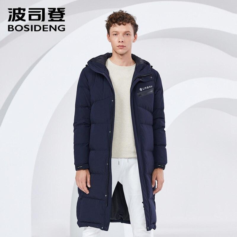 BOSIDENG New Winter Duck Down Coat For Men Down Jacket Long Parka Letter Print Hooded Waterproof Coated Fabric B80142515DS