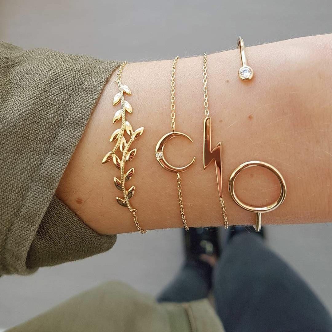 rinhoo 5Pcs Set Fashion Punk Gold Chain Moon Leaf Crystal Geometry Open Bracelet Set Women Charm Beach Jewelry Drop Shipping in Charm Bracelets from Jewelry Accessories