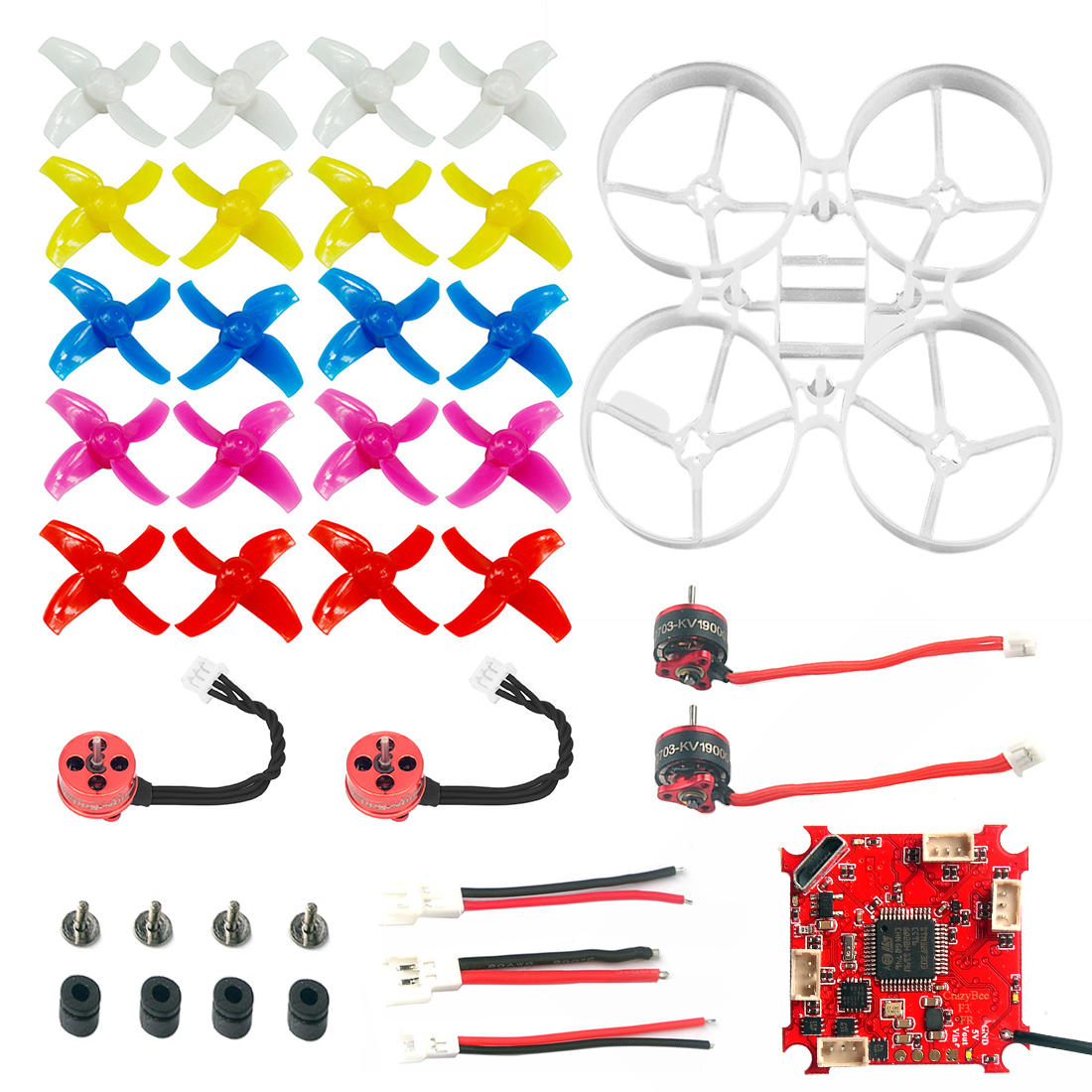 75mm Indoor Brushless Whoop Racer Drone Combo Kit Mini Frame Kit & Crazybee F3 FC ESC & SE0703 Motor & 40mm 4-Blades Propeller цены