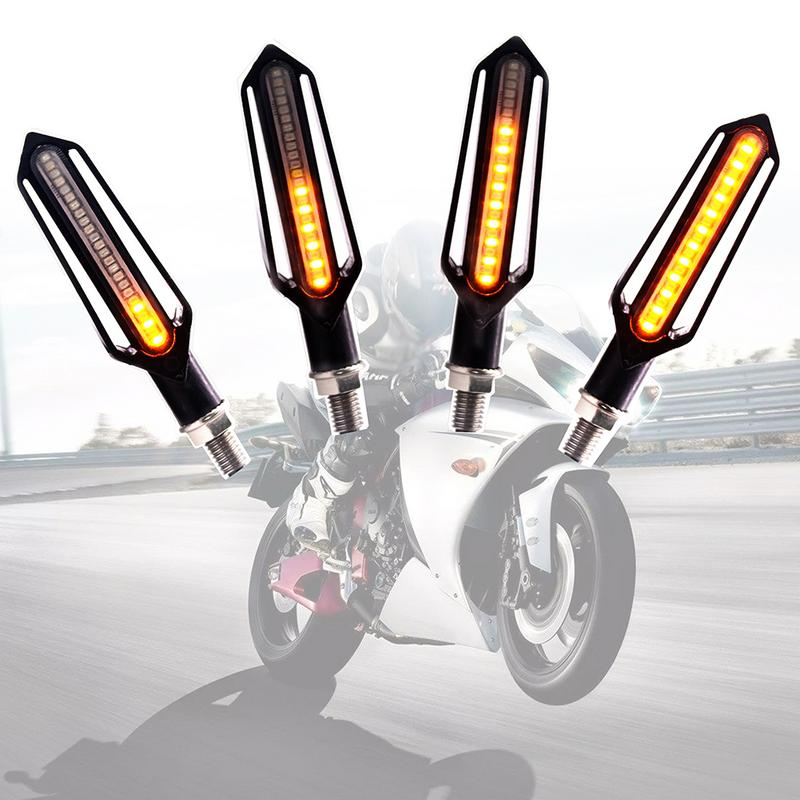 1Pair Motorcycle Amber LED Turn Signal Lamps Lights Sequential Flowing Indicator
