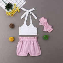 Newborn Infant Baby Girl Summer Clothes Playsuit Bandage Tops Shorts Outfits