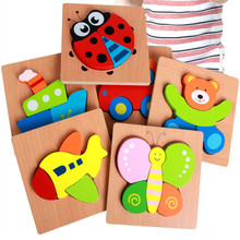 Assembly Wooden 3D Puzzle Jigsaw Wood Cartoon Animal Traffic Vehicle Puzzles Recognize Educational Toy Kids For Children Baby цена в Москве и Питере