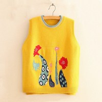 Spring Autumn Embroidery Thin Vests Casual Loose Sleeveless Sweater Women O Neck Knitted Waistcoat