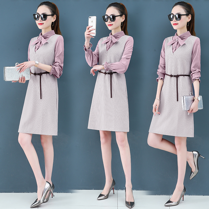 Render a dress in female new spring in the spring and autumn qiu dong fake two piece suit dress long 3