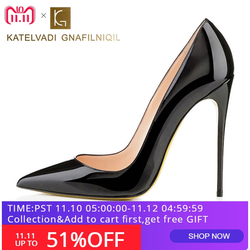 Brand 12CM High Heels Shoes Woman High Heels Pumps Wedding Bridal Shoes  Black Heels Women Shoes 7becc304e587