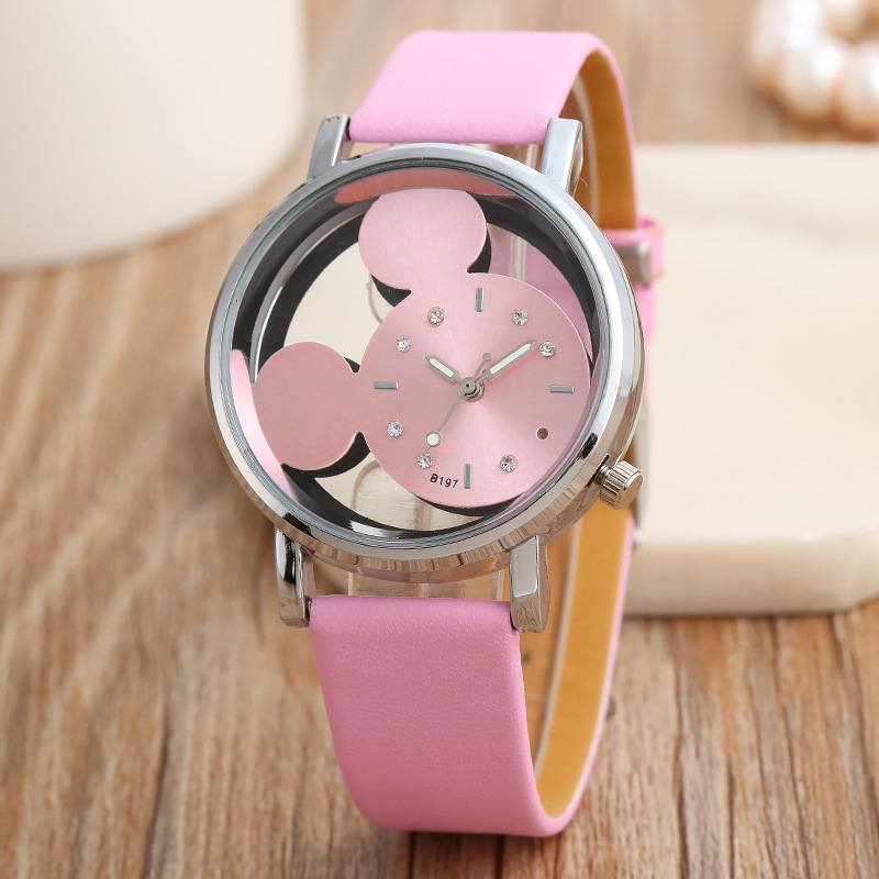 Mickey Mouse Watches Double-sided Hollow-out Mickey Mickey Mouse Watches Children Watches Montre Homme Horloges Vrouwen