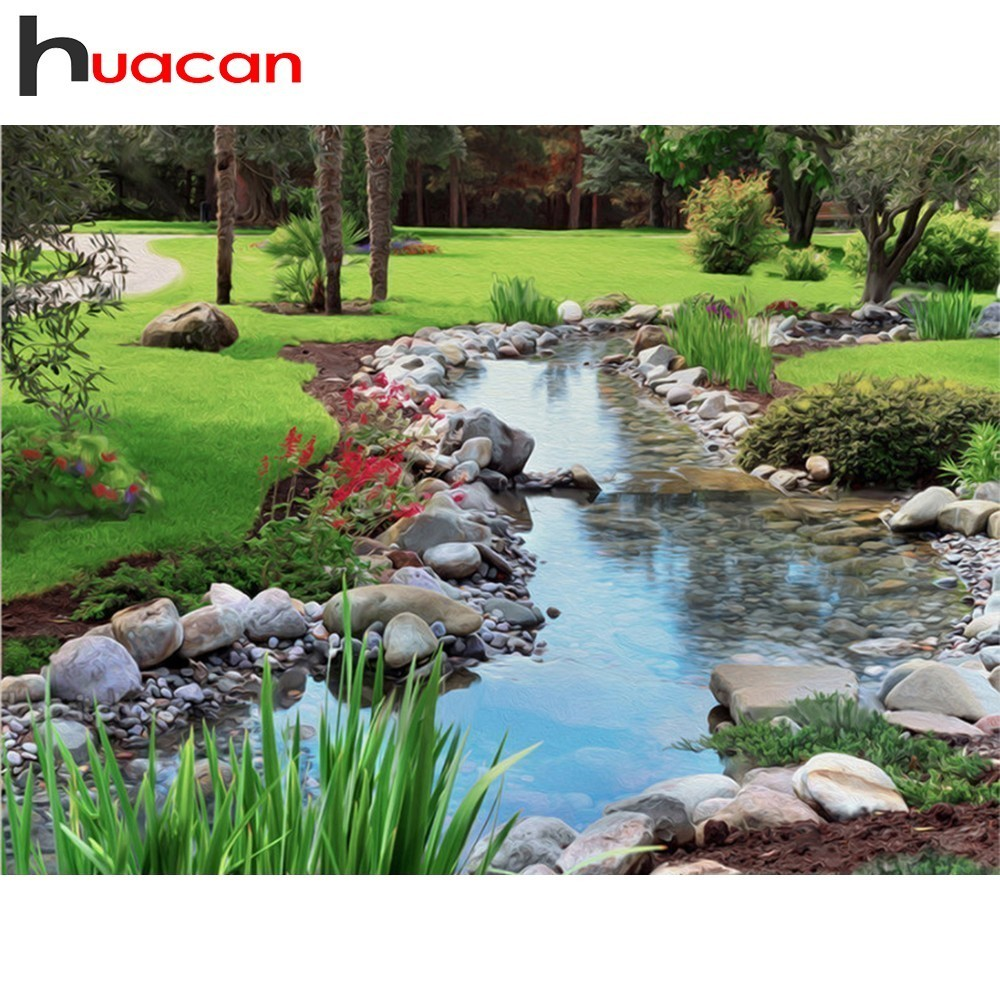 Huacan Diamond Embroidery Landscape Picture By Rhinestones