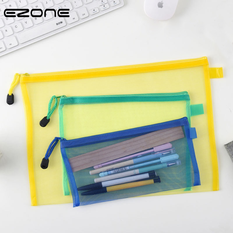 EZONE A4/A5/A6 Color Nylon Fabric Document Bag Blue/Green/Red/Yellow File Bag With Zipper Office School Stationery Supply