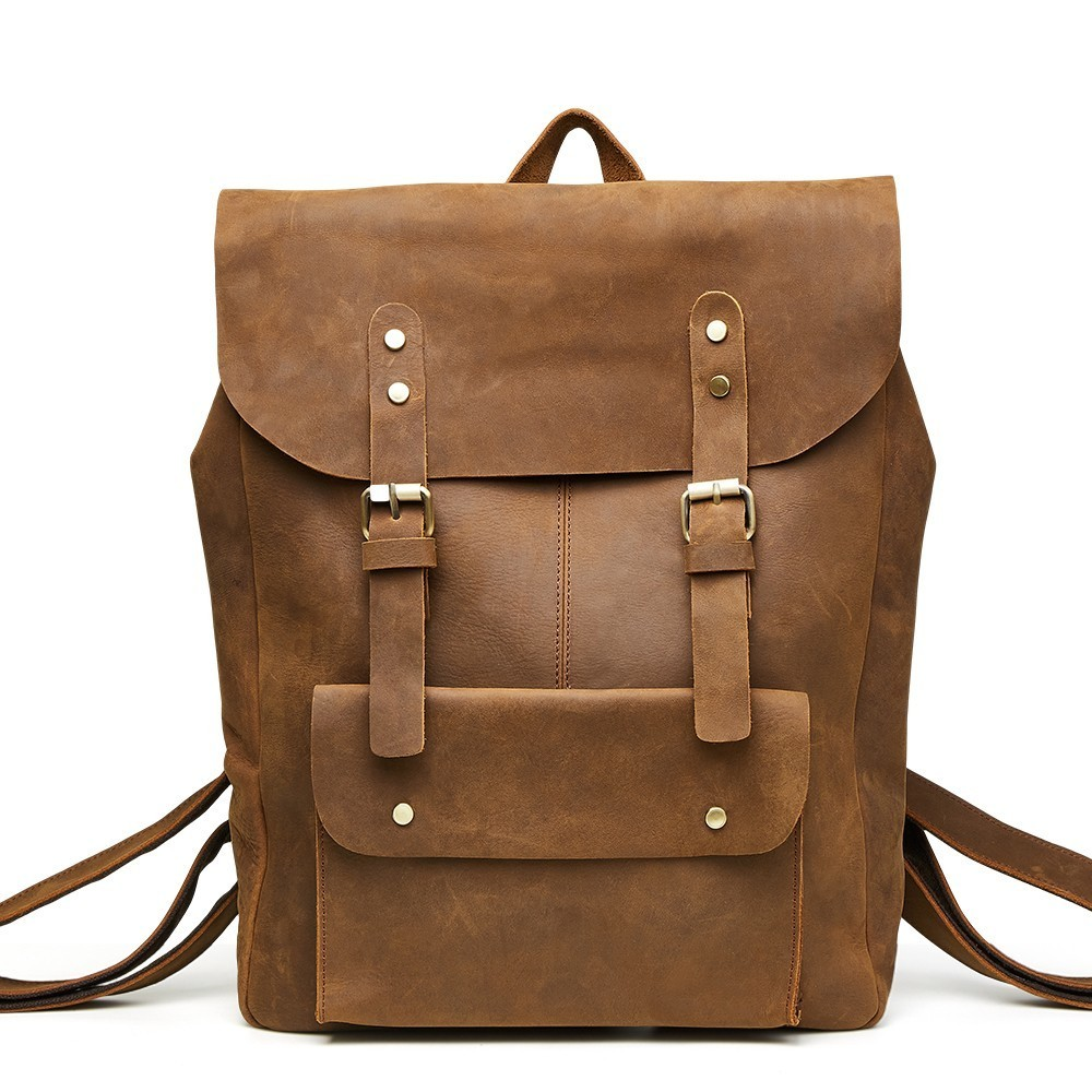 Backpack Laptop School-Bag Korea-Style Genuine-Cow-Leather Vintage Male Casual Men Men's