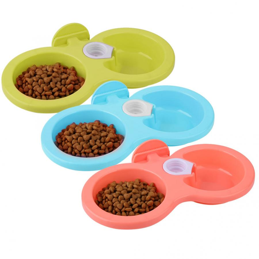 Portable Suspended Double Bowl Basin Travel Bowl Puppy Drinking Bowl Dog Food Water Bowl Cat Dog Feeder Supplies