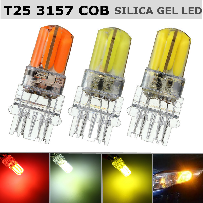 2.5w 1/2x 1120lm T25 3157 360 Degree Cob Led Bulb For Auto Brake Light Turn Signal Lamp White Red Yellow Dc12v Car Light Sourse Demand Exceeding Supply Signal Lamp