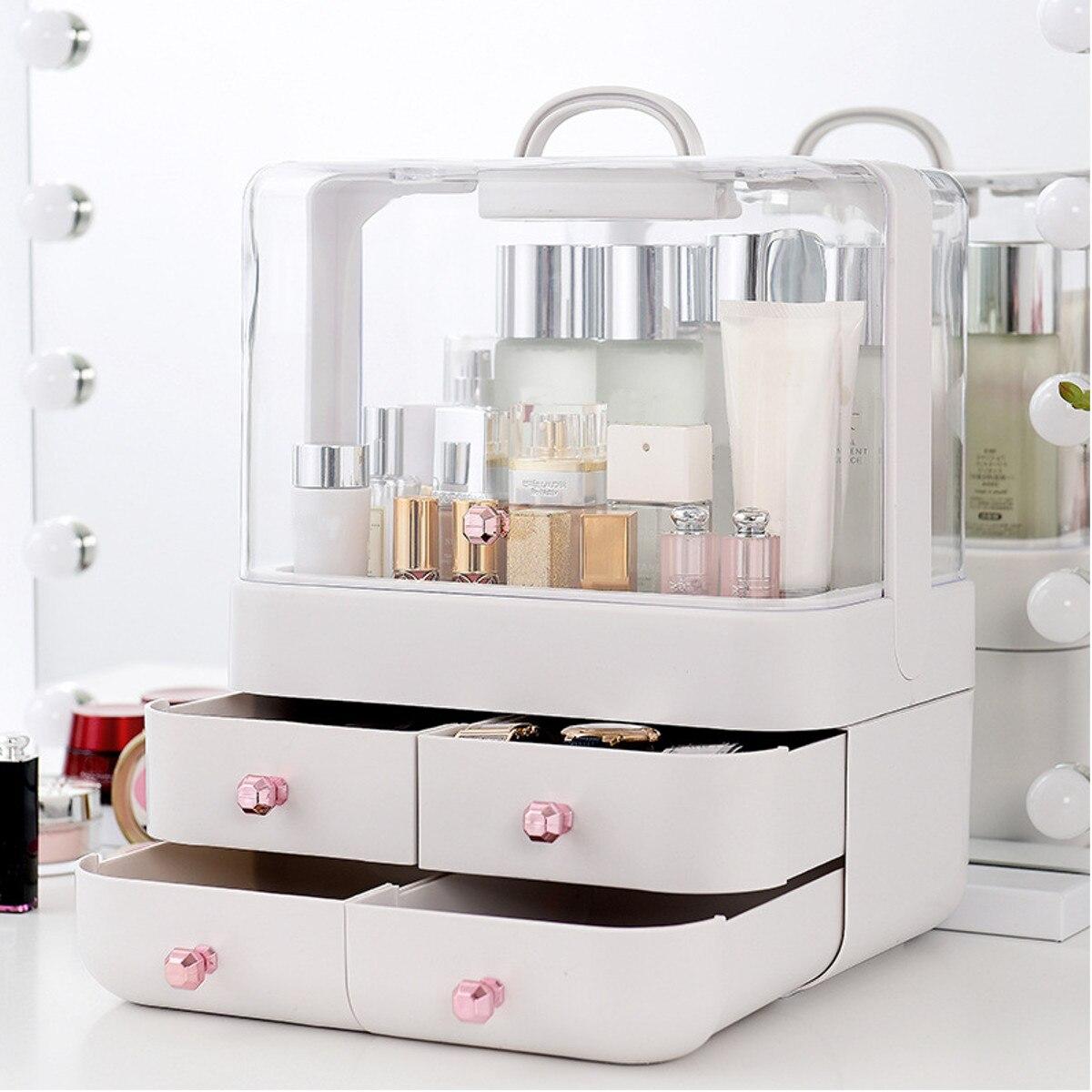 Grande capacité maquillage boîte de rangement conteneur organisateur lumière Portable magasin bijoux cosmétique en plastique étanche à la poussière tiroir étanche