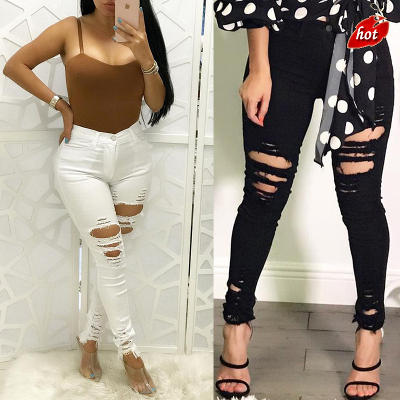 2018 Fashion Black And White Skinny Casual Pencil Pants Hole Ripped High Waist High Elastic Wash Jeans For Women Plus Size O8R2