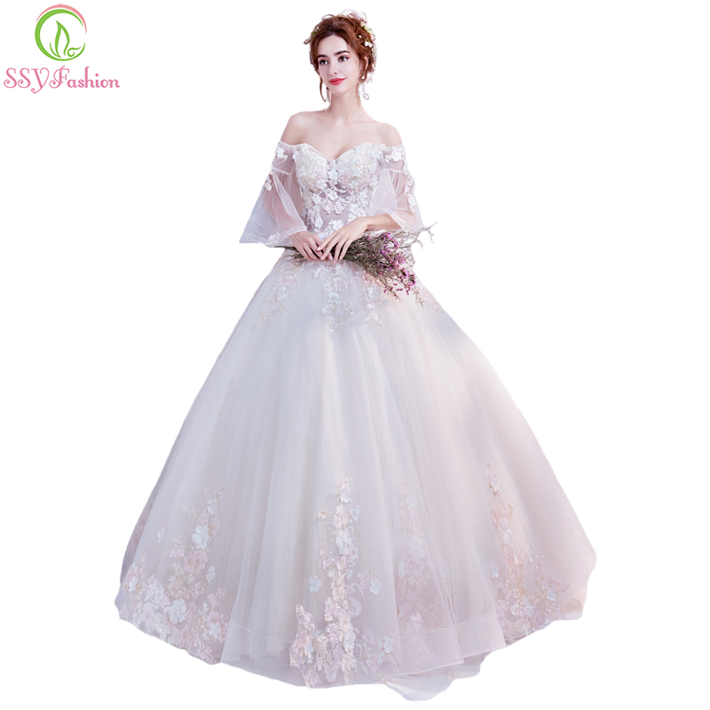 Ssyfashion Long Sleeve Wedding Dresses The Bride Elegant: SSYFashion New Champagne Wedding Dress The Bride Married