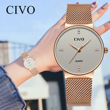 CIVO Fashion Ladies Waterproof Mesh Strap Quartz Watches Top Brand Luxury Wrist Clock Relogio Feminino Jam Tangan Pria
