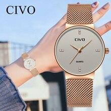 CIVO Fashion Ladies Waterproof Mesh Strap Quartz Watches Top Brand Luxury Wrist Clock Relogio Feminino Jam Tangan Pria