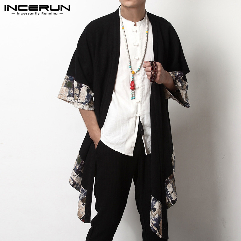 INCERUN 2019 Plus Size Men Long Outwear Shirts Half Sleeve Irregular Chinese Style