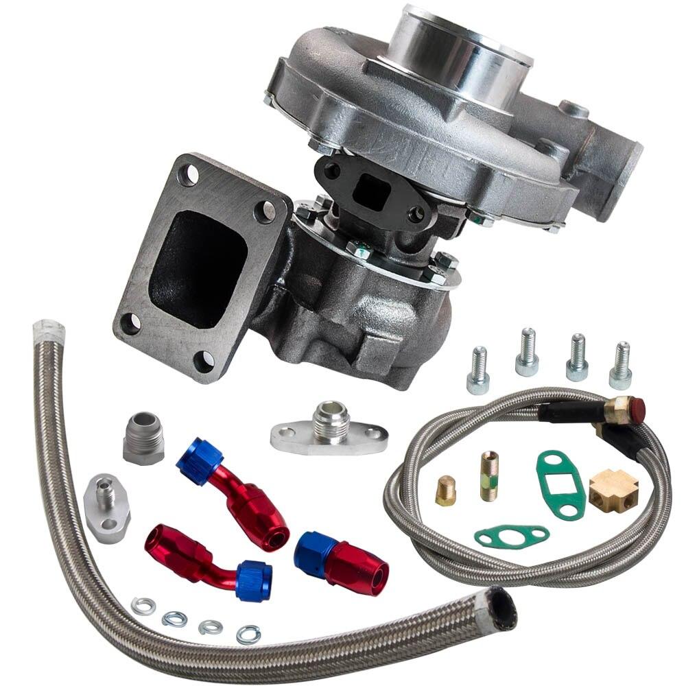 T04e t3/t4 a/r.57 73 guarnição 400 + hp fase iii turbo carregador + alimentação de óleo + linha de drenagem kit para scion tc xb xa xd paseo - 2