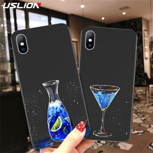 USLION Art Print Phone Case For iPhone 6 6s 7 8 Plus 5 5S SE Cartoon Space Soft TPU Cases Cover For iPhone X XS XR Xs Max