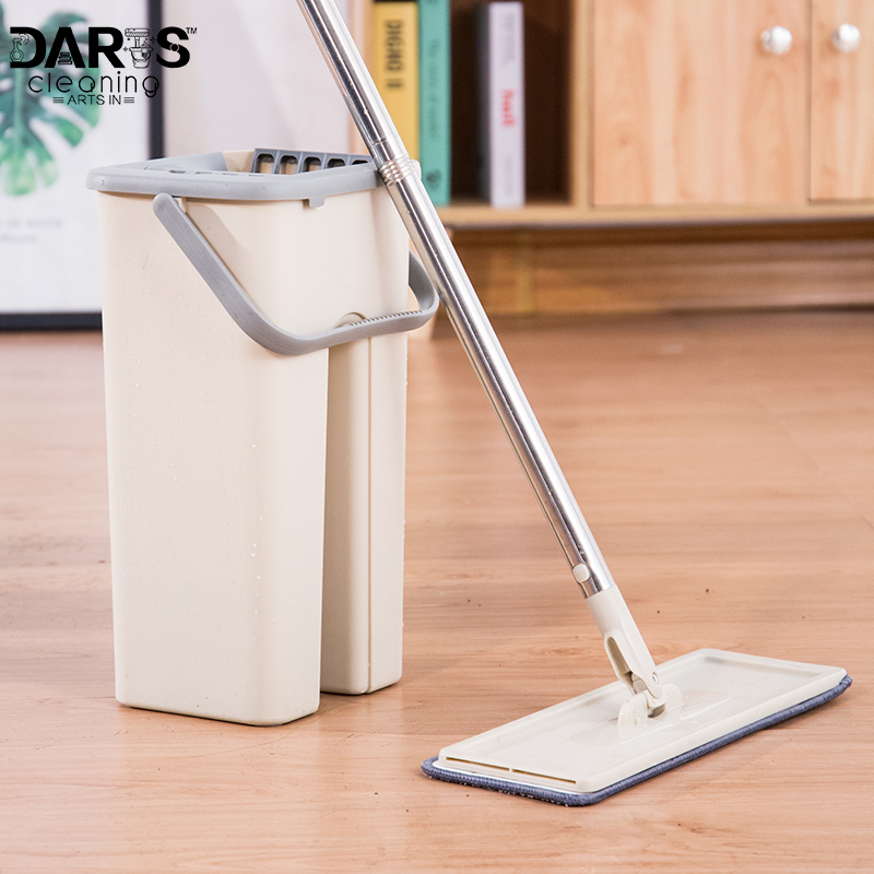 House Floor Cleaning Mop Bucket System Stainless Free Wringing Microfiber Mop Pads Wet or Dry Usage on Hardwood Laminate Tile image