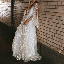 formal star print dress Women Long Sleeve Lace Perspective Backless ladies Dress Boho Prom Maxi Dress lace pleated backless prom dress