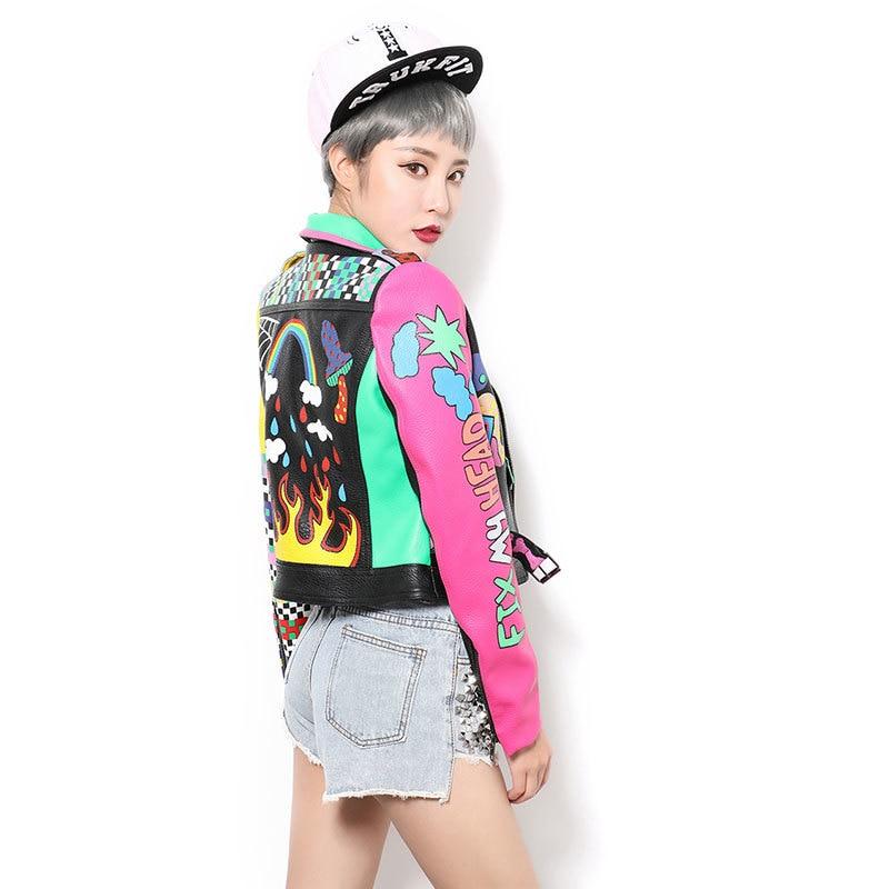 À Ceinture En Cuir Et Une Graffiti Courte Moto Glissière Nouveau Hop Hip Outwear Veste Femmes Pu Fermetures Femelle Avec IwPnq8Fx