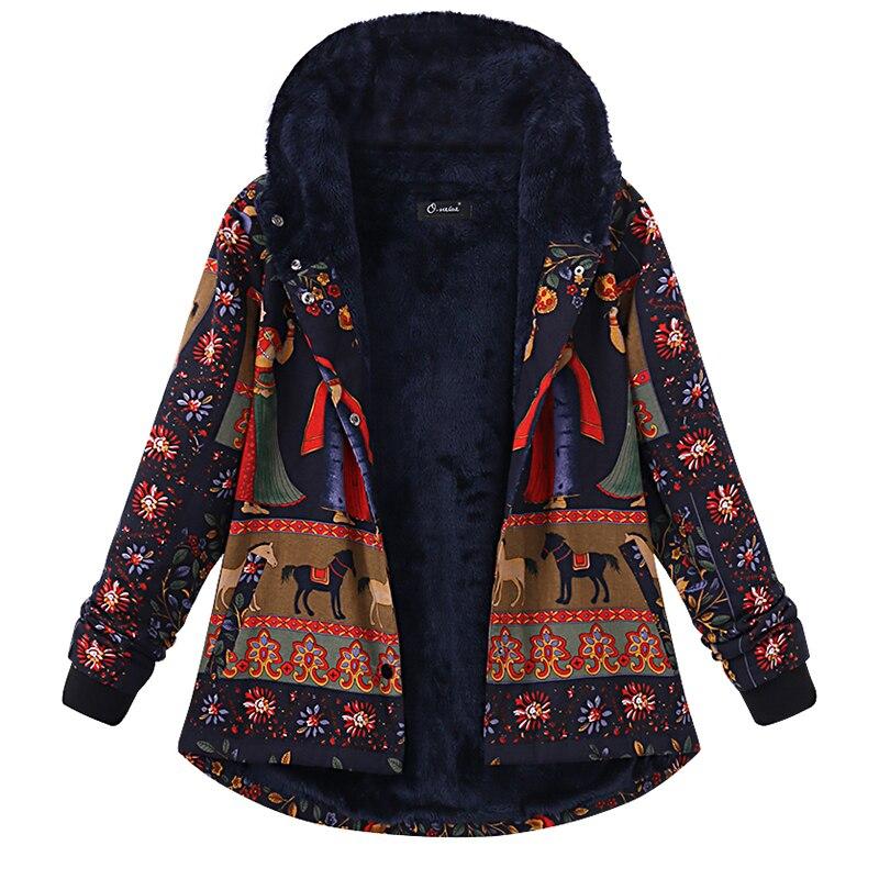 Vintage Floral Printed Hooded Long Sleeve Fleece Coat 2020 Winter   Basic   Faux Fur Outwear Women Casual Warm Plush Fluffy   Jacket