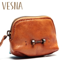Vesna Fashion Simple Cowhide Purse Small Men Women Vegetables Mini Wallet Light Travel Bag Silver Coin Card Package