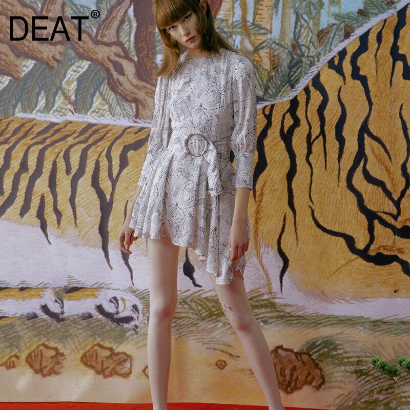 Deat 2020 Nuova Primavera E L' Estate di Modo Vestiti Delle Donne Girocollo Maniche a Tre Quarti Cinghie di Vita di Larghezza Stampato Asimmetrico