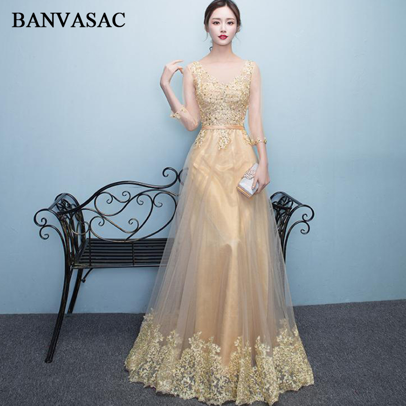 BANVASAC Elegant Beading Deep V Neck Lace Appliques A Line Long   Evening     Dresses   Party Sash Illusion Backless Prom Gowns