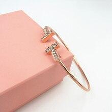 bbbca356f380 De cristal de plata 2019 pulsera abierta T las mujeres encantos T mujer  pulseras de las mujeres accesorios pulseras brazaletes j.