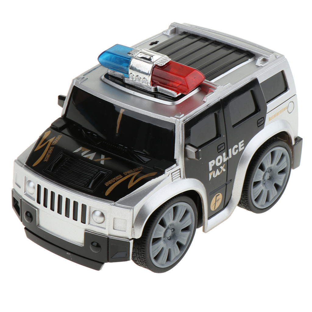 Friction Powered Police Car With With Lights & Siren Sounds Kids Play Vehicles