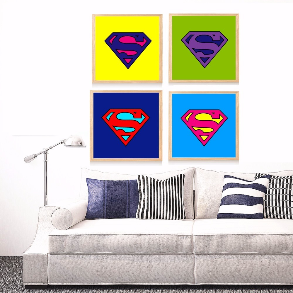 US $4.97 51% OFF Superman Logo Pop Art Canvas Art Print Painting Poster  Wall Pictures For Living Room Home Decorative Bedroom Decor No Frame-in ...