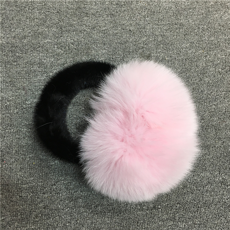 IANLAN Winter Womens Real Mink Fur & Fox Fur Earmuffs For Ladies Soft Fur Earmuffs Luxury Accessories Girls Ear Warmers IL00512