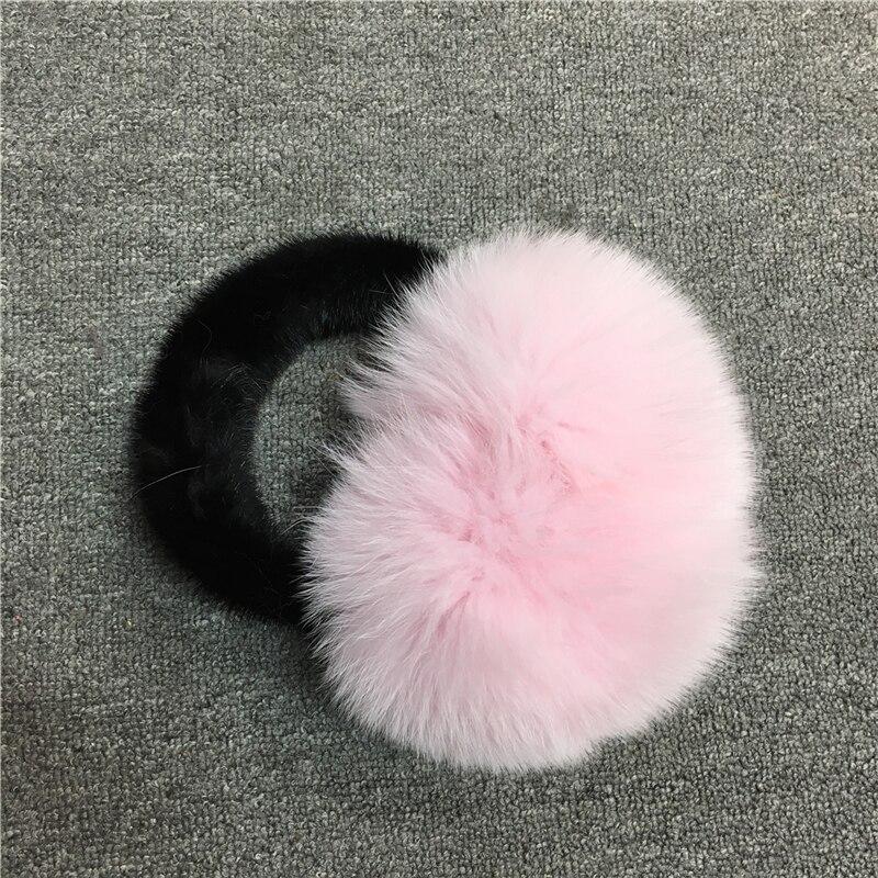 IANLAN Winter Womens Real Mink Fur & Fox Fur Earmuffs For Ladies Soft Fur Earmuffs Luxury Accessories Girls Ear Warmers IL00512