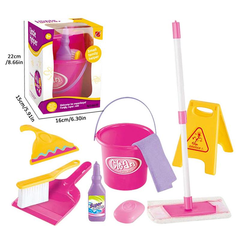 Kids Role Play Vacuum Cleaner Toy Pink Bucket Dust Pan Brush Toy Set Kids