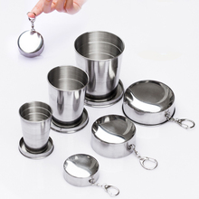 Stainless Steel Portable Travel Folding Water Cup Camping Outdoor Collapsible Sport Tour Water Cup With Keychain Beer Drink Tool portable stainless steel outdoor multitool keychain with phone holder